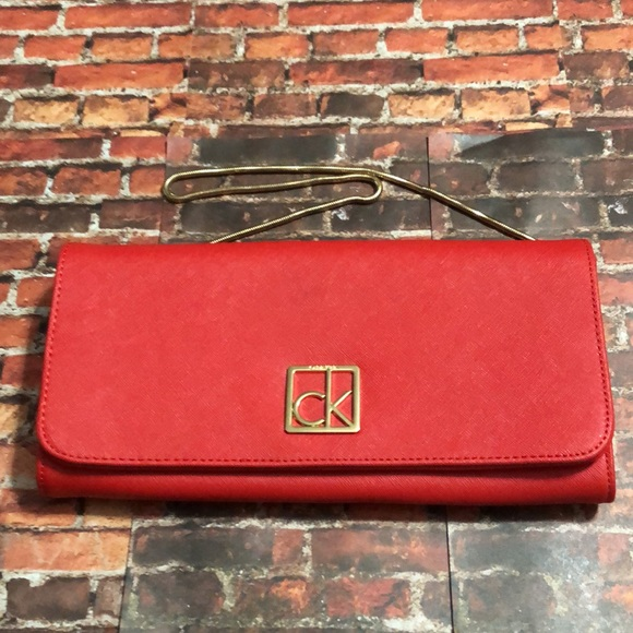 Calvin Klein Red Saffiano Leather Clutch NWOT